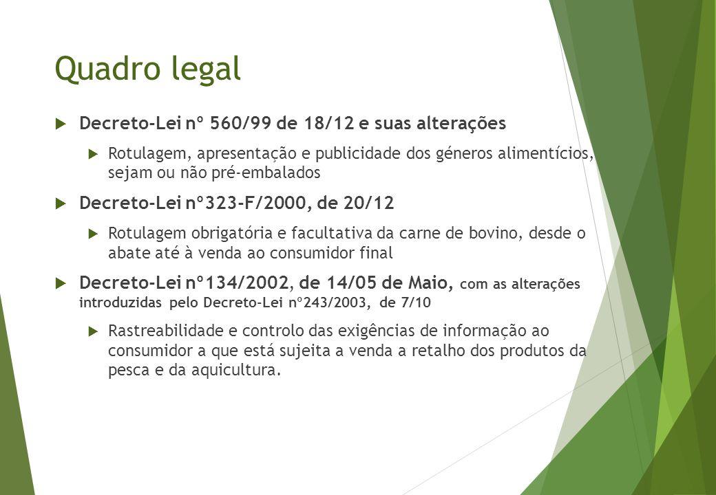 Quadro legal  Decreto-Lei nº 560/99 de 18/12 e suas alterações  Rotulagem, apresentação e publicidade dos géneros alimentícios, sejam ou não pré-emb