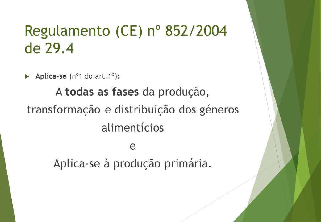  Aplica-se (nº1 do art.1º): A todas as fases da produção, transformação e distribuição dos géneros alimentícios e Aplica-se à produção primária. Regu
