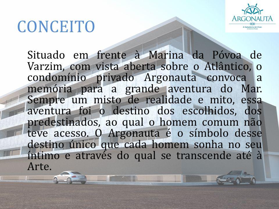 CONCEITO Situado em frente à Marina da Póvoa de Varzim, com vista aberta sobre o Atlântico, o condomínio privado Argonauta convoca a memória para a gr