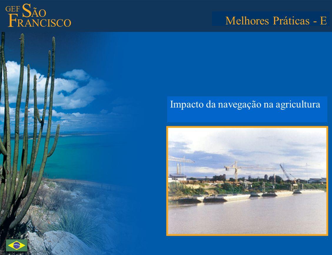 GEF S ÃO F RANCISCO Best Practices - E Assessment of contribution of river transport to agricultural progress Melhores Práticas - E Impacto da navegaç