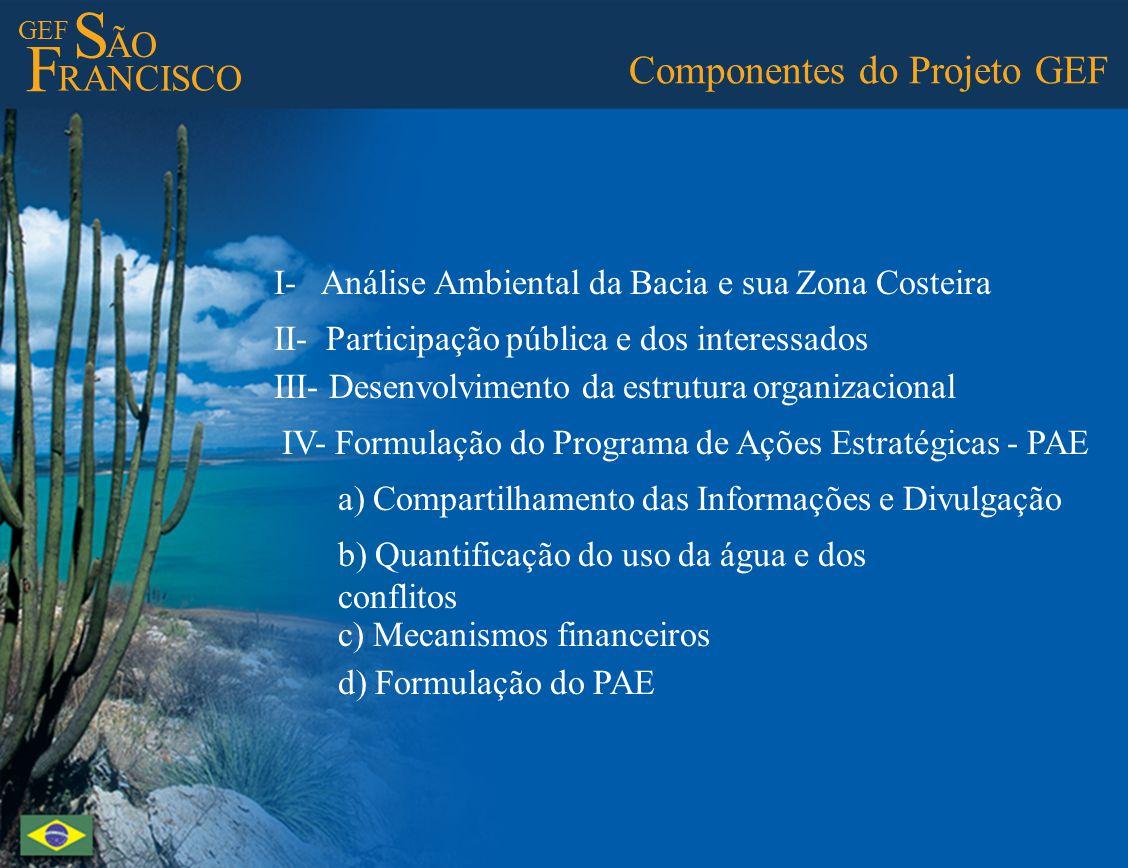 GEF S ÃO F RANCISCO Componentes do Projeto GEF I- Análise Ambiental da Bacia e sua Zona Costeira II- Participação pública e dos interessados III- Dese