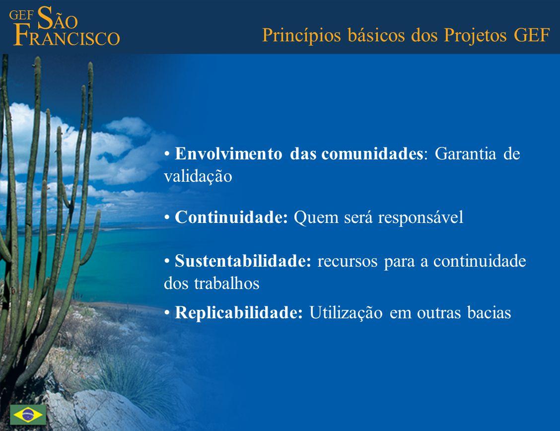 GEF S ÃO F RANCISCO Princípios básicos dos Projetos GEF Envolvimento das comunidades: Garantia de validação Continuidade: Quem será responsável Susten