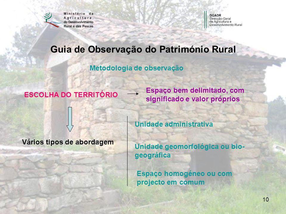 10 Guia de Observação do Património Rural Metodologia de observação ESCOLHA DO TERRITÓRIO Espaço bem delimitado, com significado e valor próprios Vári