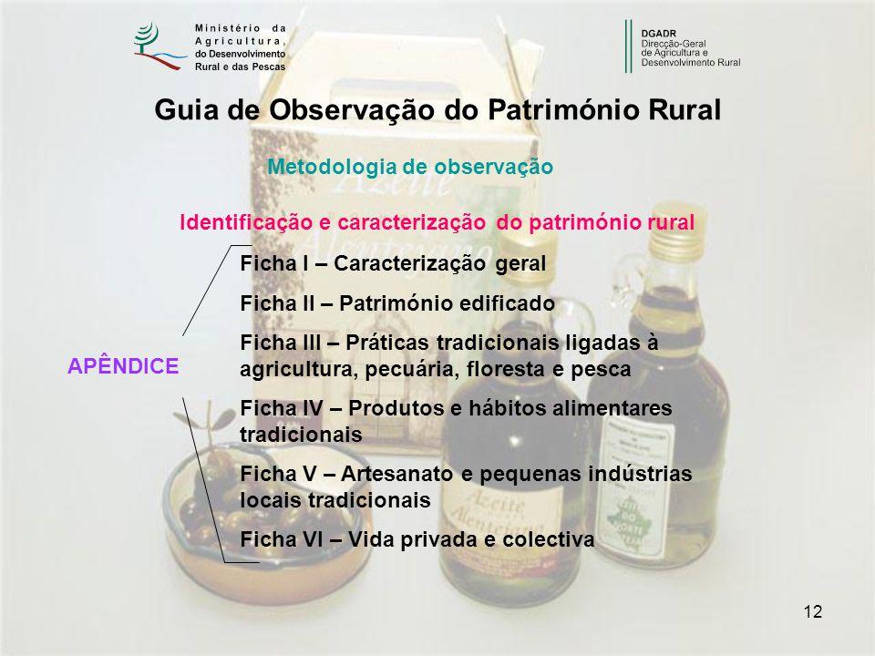 12 Guia de Observação do Património Rural Identificação e caracterização do património rural Ficha I – Caracterização geral Ficha II – Património edif