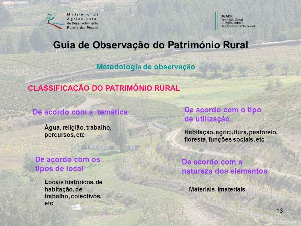 13 Guia de Observação do Património Rural Metodologia de observação CLASSIFICAÇÃO DO PATRIMÓNIO RURAL De acordo com a temática De acordo com os tipos