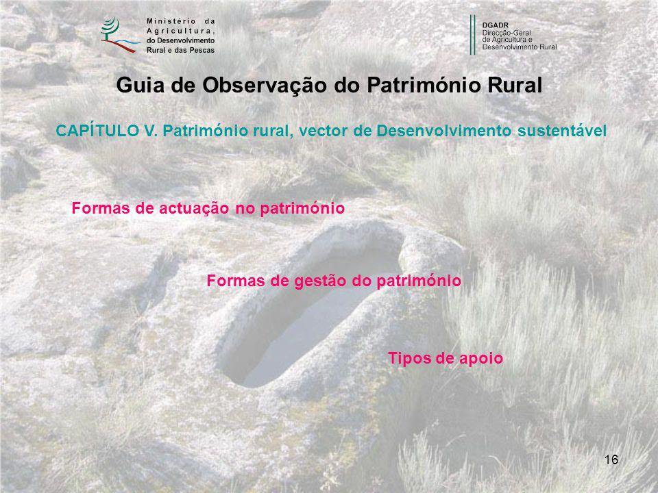 16 Guia de Observação do Património Rural CAPÍTULO V. Património rural, vector de Desenvolvimento sustentável Formas de actuação no património Formas