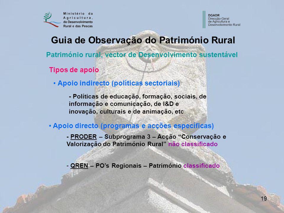 19 Património rural, vector de Desenvolvimento sustentável Guia de Observação do Património Rural Tipos de apoio Apoio indirecto (políticas sectoriais