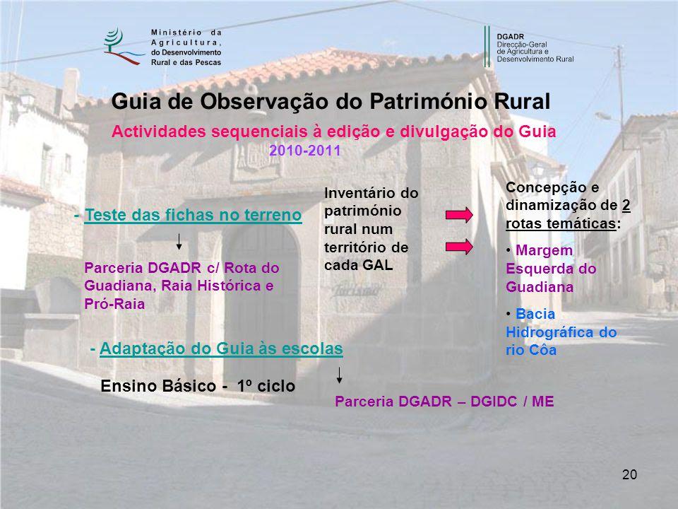 20 Actividades sequenciais à edição e divulgação do Guia 2010-2011 Guia de Observação do Património Rural - Teste das fichas no terreno - Adaptação do