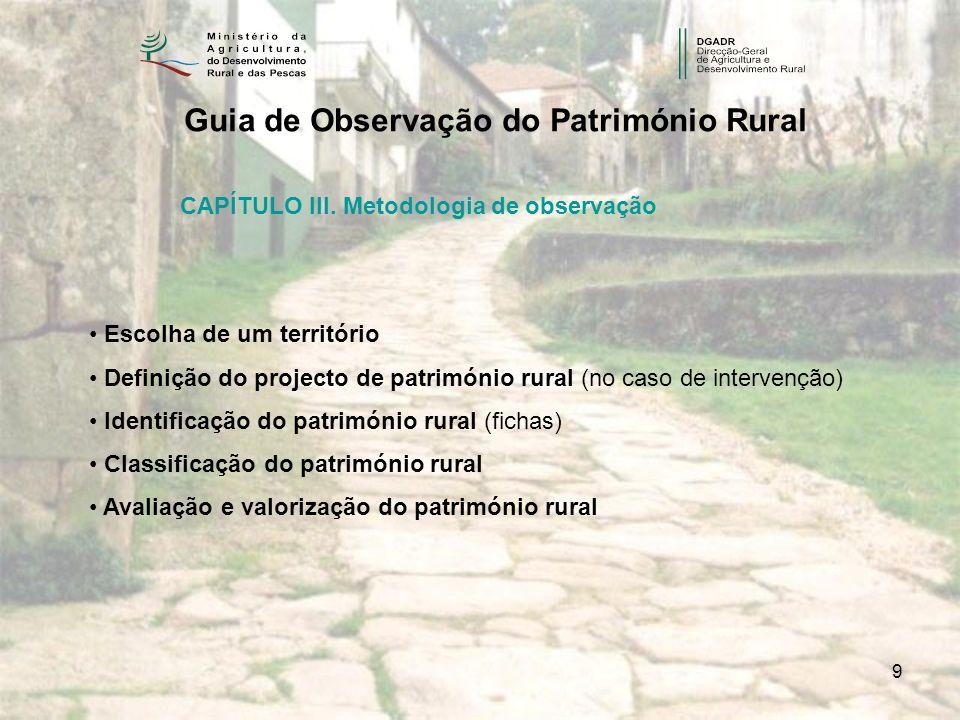 9 Guia de Observação do Património Rural CAPÍTULO III. Metodologia de observação Escolha de um território Definição do projecto de património rural (n