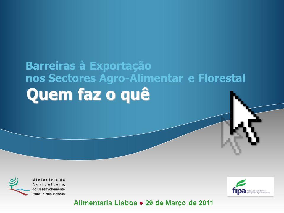 Quem faz o quê Barreiras à Exportação nos Sectores Agro-Alimentar e Florestal Alimentaria Lisboa ● 29 de Março de 2011