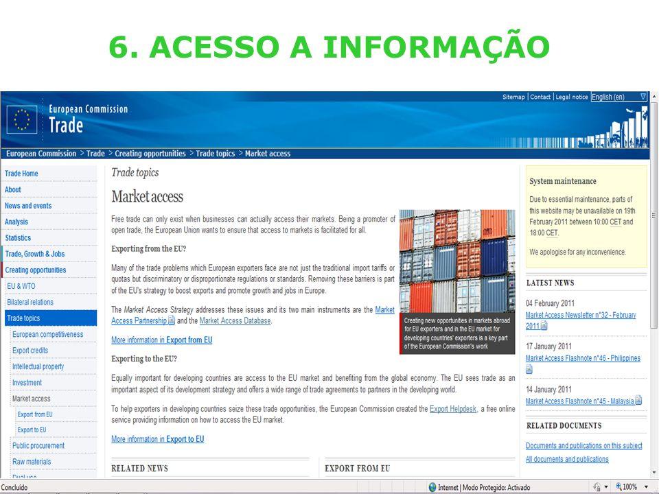 External TradeTrade EC - DG TRADE - SPS TEAM (Lisboa – 29.03.2011) 19 6. ACESSO A INFORMAÇÃO
