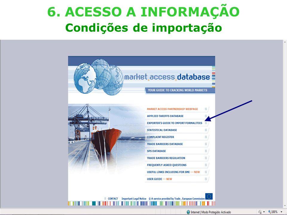 External TradeTrade EC - DG TRADE - SPS TEAM (Lisboa – 29.03.2011) 20 6. ACESSO A INFORMAÇÃO Condições de importação