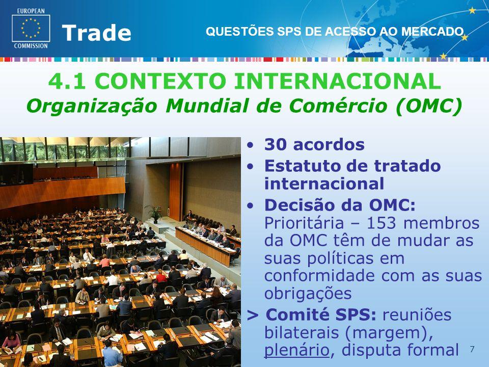 External TradeTrade EC - DG TRADE - SPS TEAM (Lisboa – 29.03.2011) 7 4.1 CONTEXTO INTERNACIONAL Organização Mundial de Comércio (OMC) 30 acordos Estatuto de tratado internacional Decisão da OMC: Prioritária – 153 membros da OMC têm de mudar as suas políticas em conformidade com as suas obrigações > Comité SPS: reuniões bilaterais (margem), plenário, disputa formal QUESTÕES SPS DE ACESSO AO MERCADO