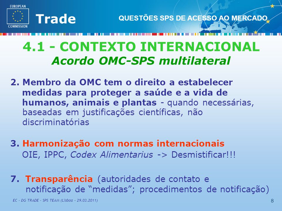 External TradeTrade EC - DG TRADE - SPS TEAM (Lisboa – 29.03.2011) 99 CODEX ALIMENTARIUS COMMISSION FAO/WHO (Roma) http://www.