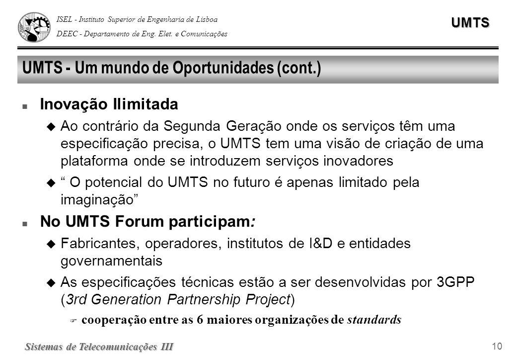 ISEL - Instituto Superior de Engenharia de Lisboa DEEC - Departamento de Eng. Elet. e ComunicaçõesUMTS Sistemas de Telecomunicações III 10 UMTS - Um m