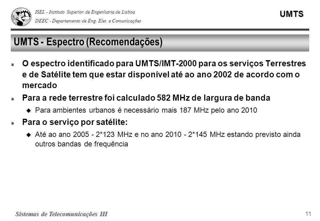 ISEL - Instituto Superior de Engenharia de Lisboa DEEC - Departamento de Eng. Elet. e ComunicaçõesUMTS Sistemas de Telecomunicações III 11 UMTS - Espe