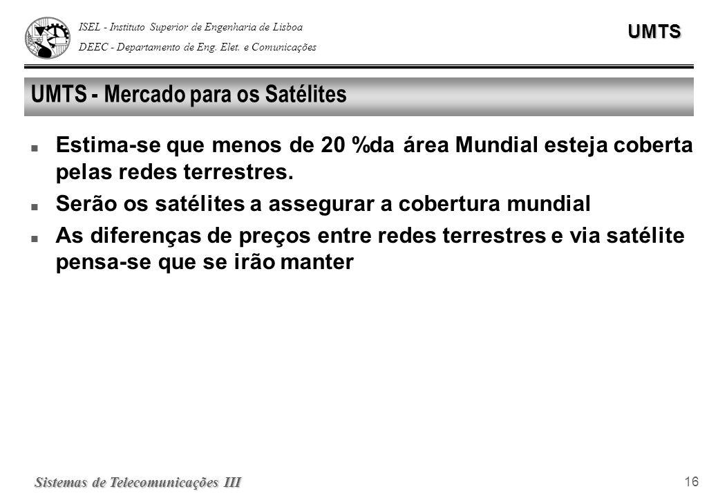 ISEL - Instituto Superior de Engenharia de Lisboa DEEC - Departamento de Eng. Elet. e ComunicaçõesUMTS Sistemas de Telecomunicações III 16 UMTS - Merc