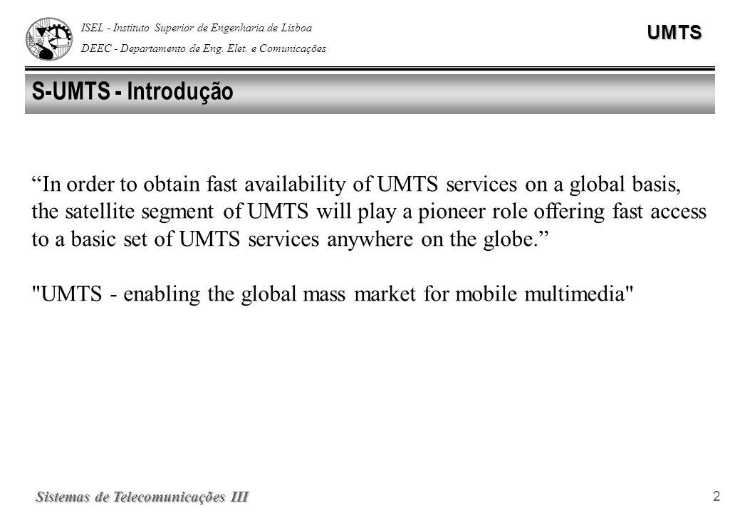 ISEL - Instituto Superior de Engenharia de Lisboa DEEC - Departamento de Eng. Elet. e ComunicaçõesUMTS Sistemas de Telecomunicações III 2 S-UMTS - Int