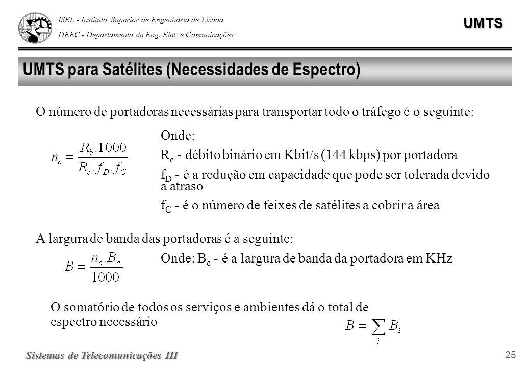 ISEL - Instituto Superior de Engenharia de Lisboa DEEC - Departamento de Eng. Elet. e ComunicaçõesUMTS Sistemas de Telecomunicações III 25 UMTS para S