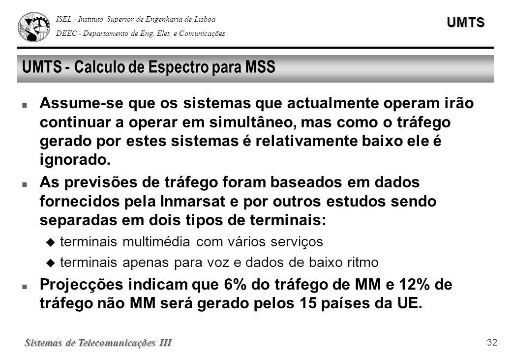 ISEL - Instituto Superior de Engenharia de Lisboa DEEC - Departamento de Eng. Elet. e ComunicaçõesUMTS Sistemas de Telecomunicações III 32 UMTS - Calc