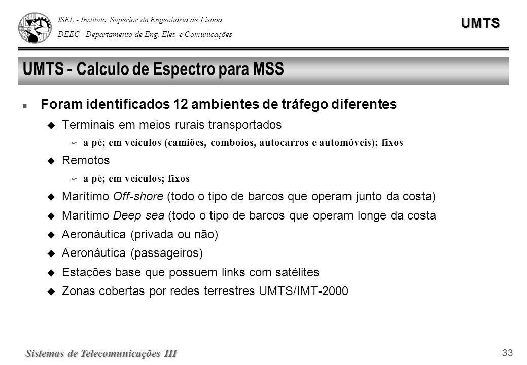 ISEL - Instituto Superior de Engenharia de Lisboa DEEC - Departamento de Eng. Elet. e ComunicaçõesUMTS Sistemas de Telecomunicações III 33 UMTS - Calc