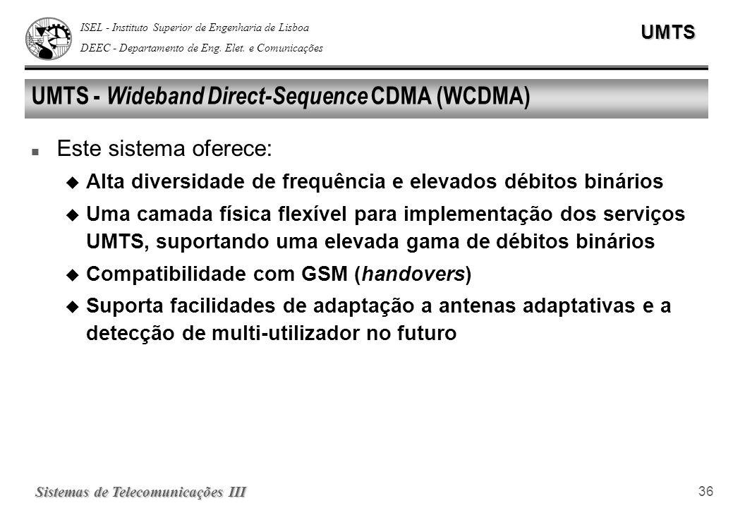 ISEL - Instituto Superior de Engenharia de Lisboa DEEC - Departamento de Eng. Elet. e ComunicaçõesUMTS Sistemas de Telecomunicações III 36 UMTS - Wide