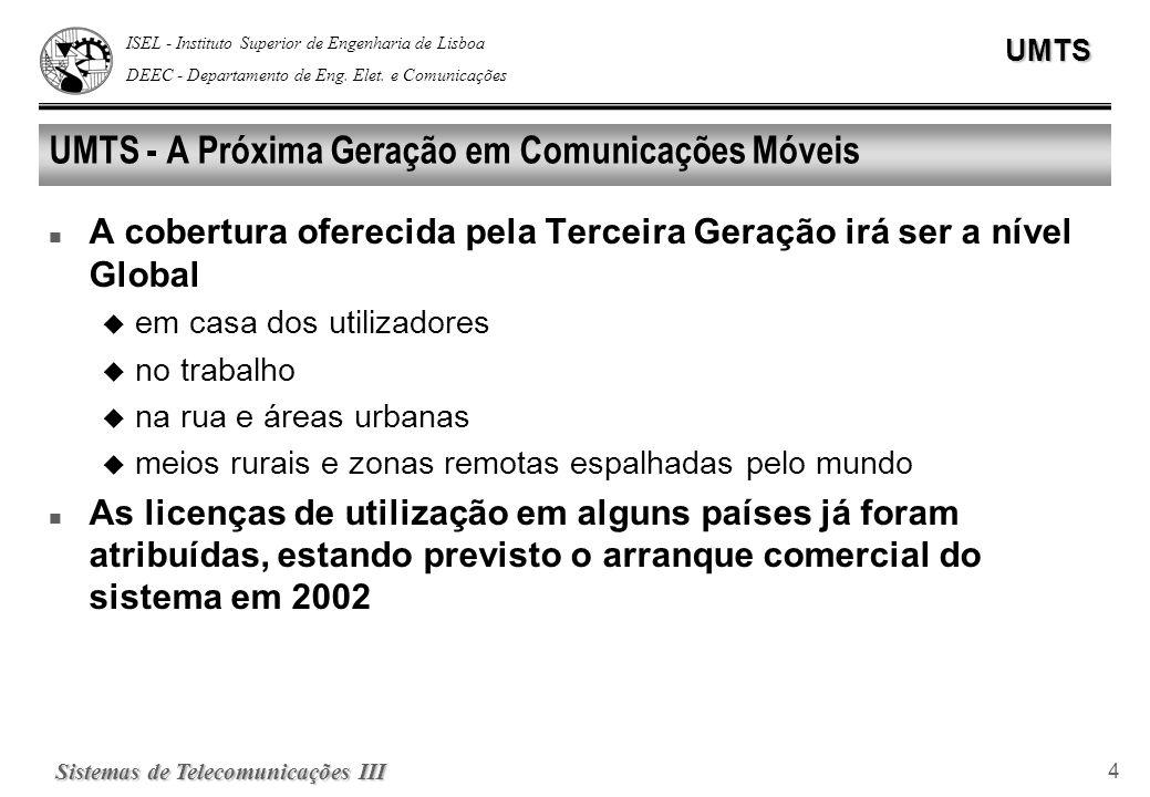 ISEL - Instituto Superior de Engenharia de Lisboa DEEC - Departamento de Eng. Elet. e ComunicaçõesUMTS Sistemas de Telecomunicações III 4 UMTS - A Pró