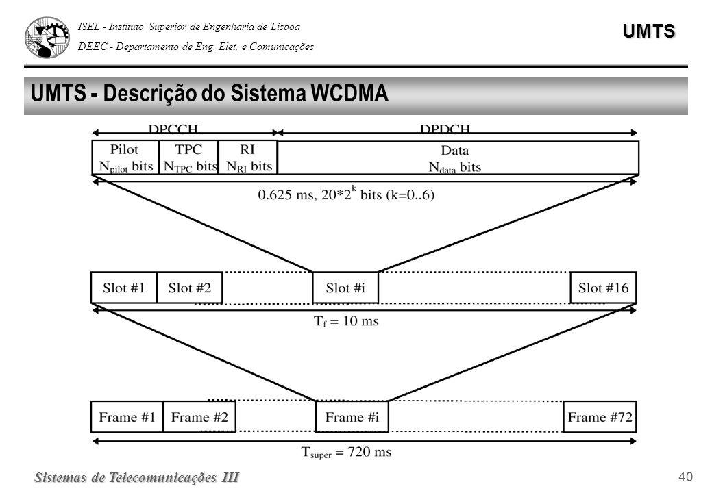 ISEL - Instituto Superior de Engenharia de Lisboa DEEC - Departamento de Eng. Elet. e ComunicaçõesUMTS Sistemas de Telecomunicações III 40 UMTS - Desc