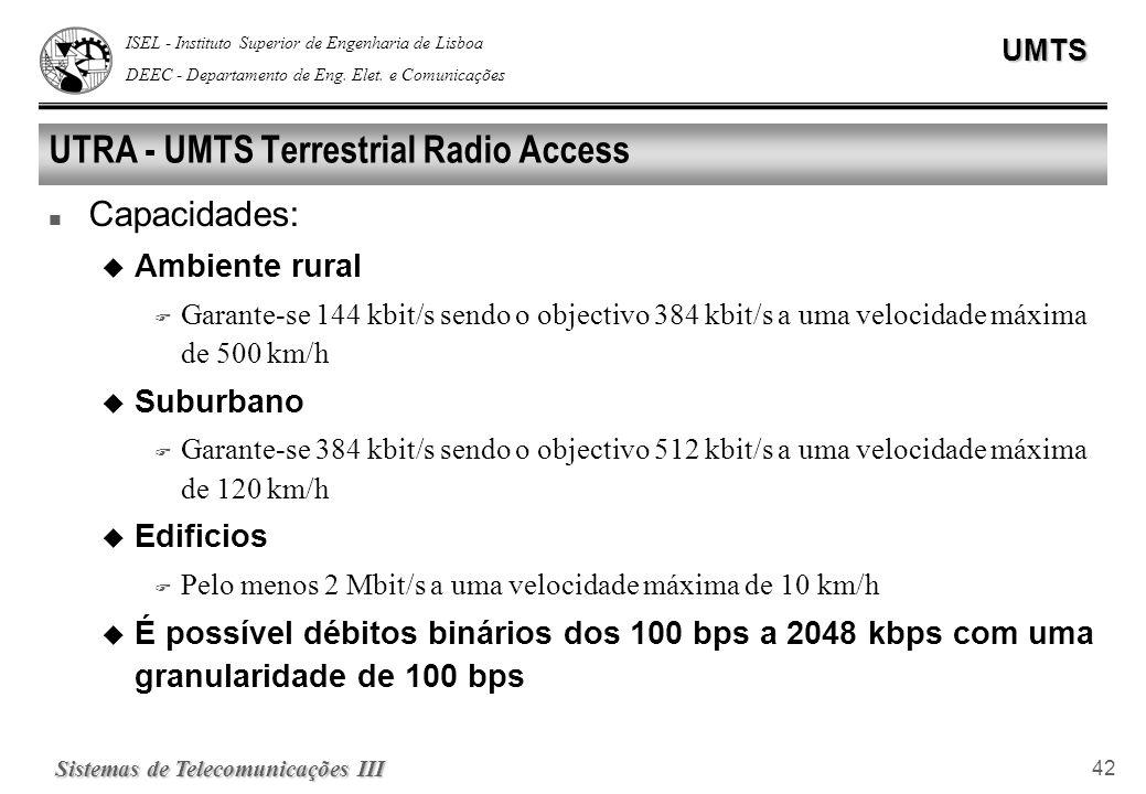 ISEL - Instituto Superior de Engenharia de Lisboa DEEC - Departamento de Eng. Elet. e ComunicaçõesUMTS Sistemas de Telecomunicações III 42 UTRA - UMTS