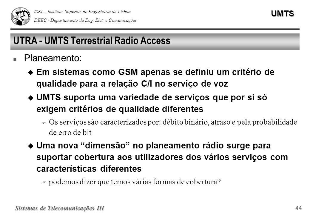ISEL - Instituto Superior de Engenharia de Lisboa DEEC - Departamento de Eng. Elet. e ComunicaçõesUMTS Sistemas de Telecomunicações III 44 UTRA - UMTS