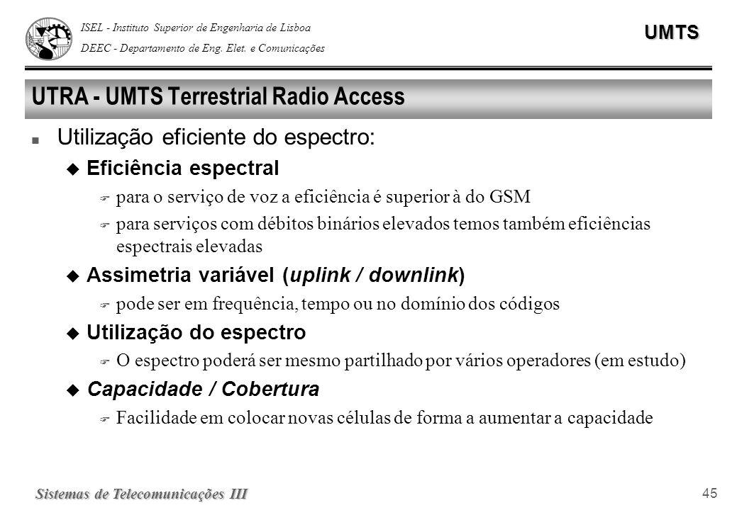 ISEL - Instituto Superior de Engenharia de Lisboa DEEC - Departamento de Eng. Elet. e ComunicaçõesUMTS Sistemas de Telecomunicações III 45 UTRA - UMTS