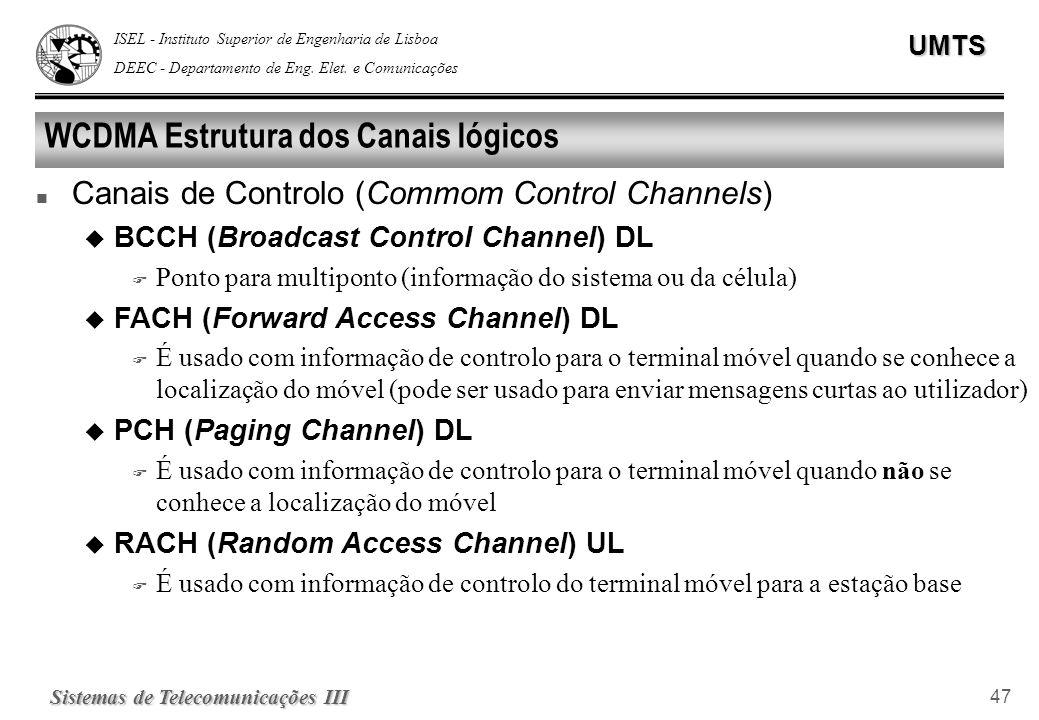 ISEL - Instituto Superior de Engenharia de Lisboa DEEC - Departamento de Eng. Elet. e ComunicaçõesUMTS Sistemas de Telecomunicações III 47 WCDMA Estru
