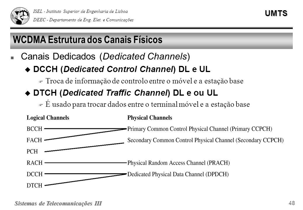 ISEL - Instituto Superior de Engenharia de Lisboa DEEC - Departamento de Eng. Elet. e ComunicaçõesUMTS Sistemas de Telecomunicações III 48 WCDMA Estru