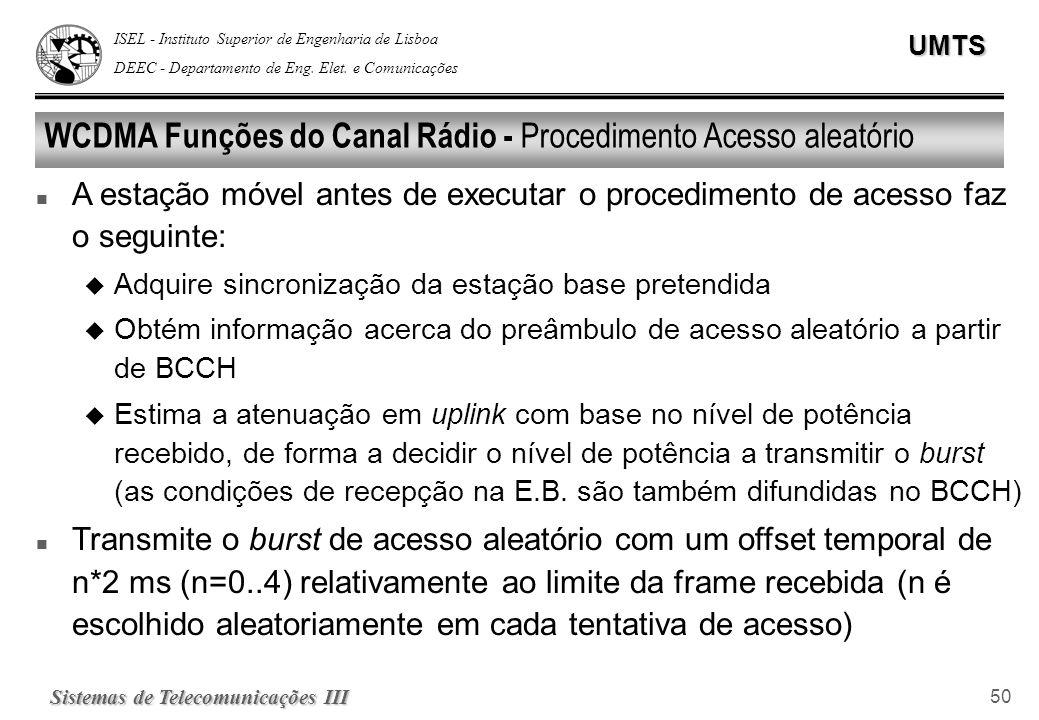 ISEL - Instituto Superior de Engenharia de Lisboa DEEC - Departamento de Eng. Elet. e ComunicaçõesUMTS Sistemas de Telecomunicações III 50 WCDMA Funçõ