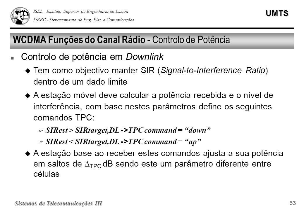 ISEL - Instituto Superior de Engenharia de Lisboa DEEC - Departamento de Eng. Elet. e ComunicaçõesUMTS Sistemas de Telecomunicações III 53 WCDMA Funçõ