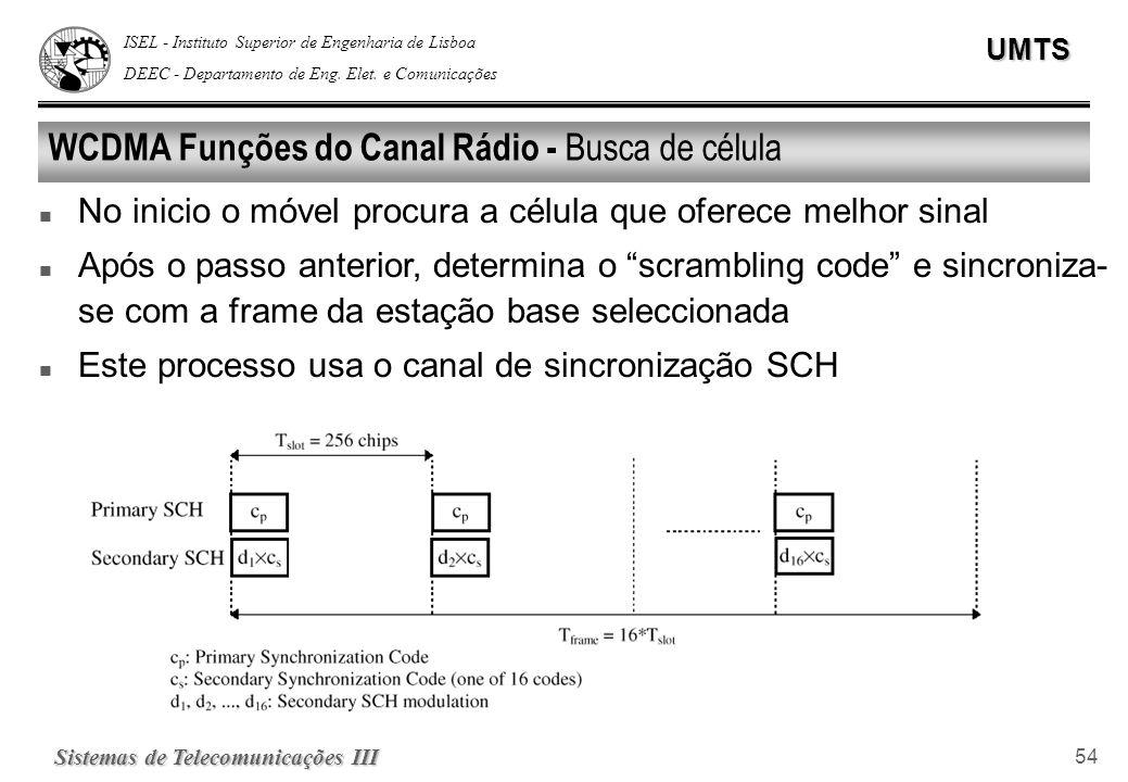 ISEL - Instituto Superior de Engenharia de Lisboa DEEC - Departamento de Eng. Elet. e ComunicaçõesUMTS Sistemas de Telecomunicações III 54 WCDMA Funçõ