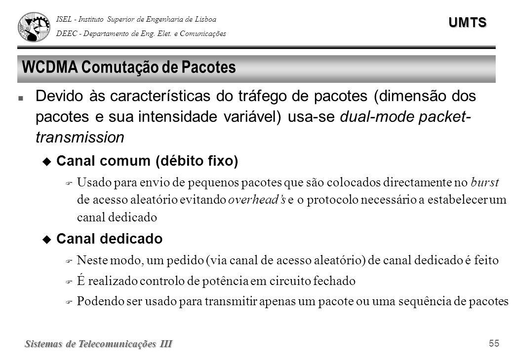 ISEL - Instituto Superior de Engenharia de Lisboa DEEC - Departamento de Eng. Elet. e ComunicaçõesUMTS Sistemas de Telecomunicações III 55 WCDMA Comut