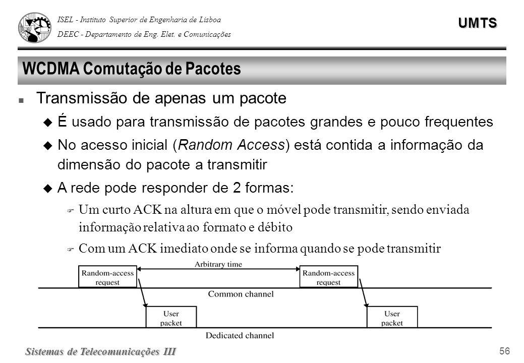 ISEL - Instituto Superior de Engenharia de Lisboa DEEC - Departamento de Eng. Elet. e ComunicaçõesUMTS Sistemas de Telecomunicações III 56 WCDMA Comut