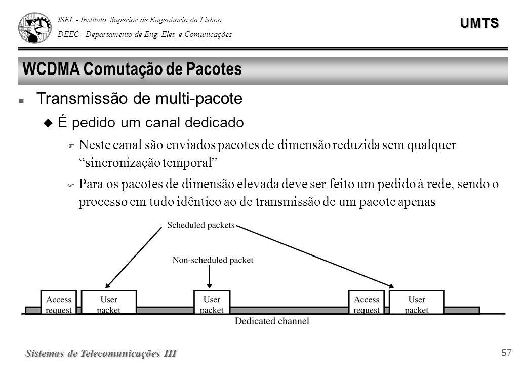 ISEL - Instituto Superior de Engenharia de Lisboa DEEC - Departamento de Eng. Elet. e ComunicaçõesUMTS Sistemas de Telecomunicações III 57 WCDMA Comut