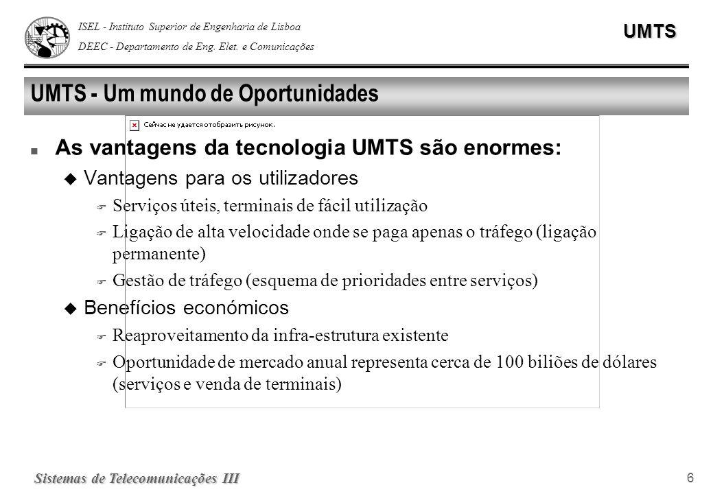 ISEL - Instituto Superior de Engenharia de Lisboa DEEC - Departamento de Eng. Elet. e ComunicaçõesUMTS Sistemas de Telecomunicações III 6 UMTS - Um mu