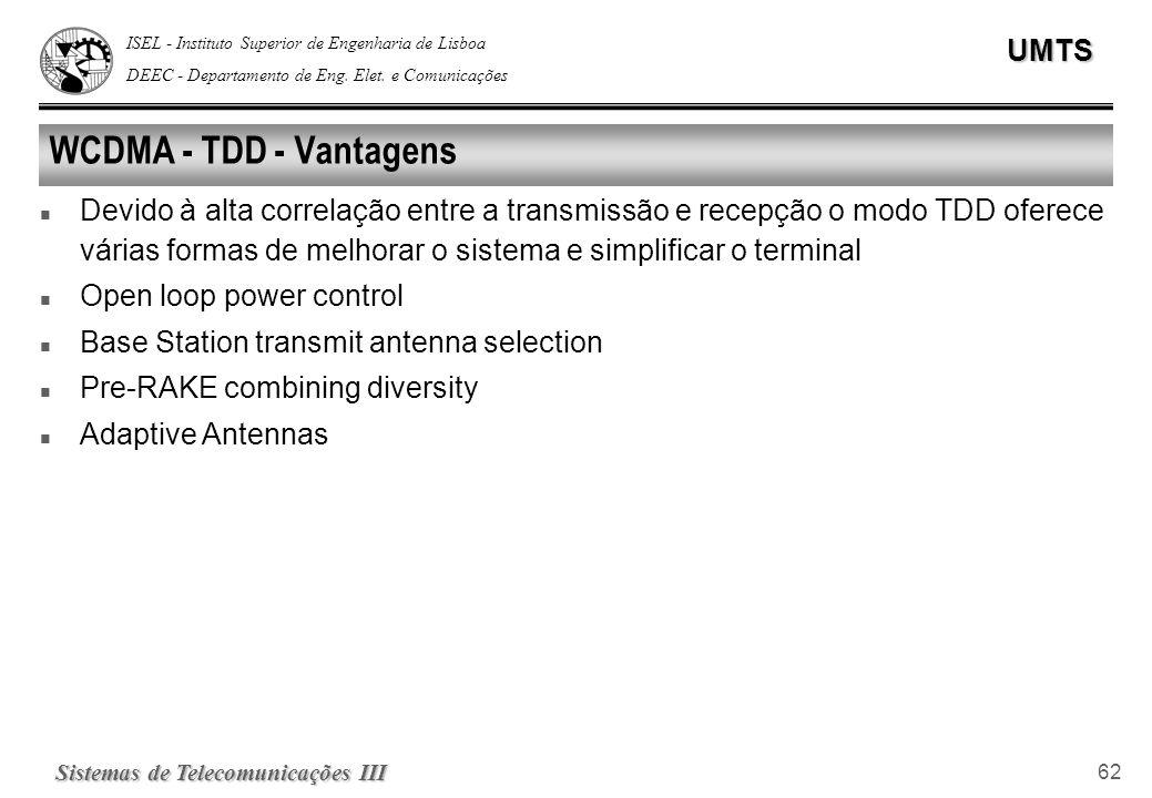 ISEL - Instituto Superior de Engenharia de Lisboa DEEC - Departamento de Eng. Elet. e ComunicaçõesUMTS Sistemas de Telecomunicações III 62 WCDMA - TDD