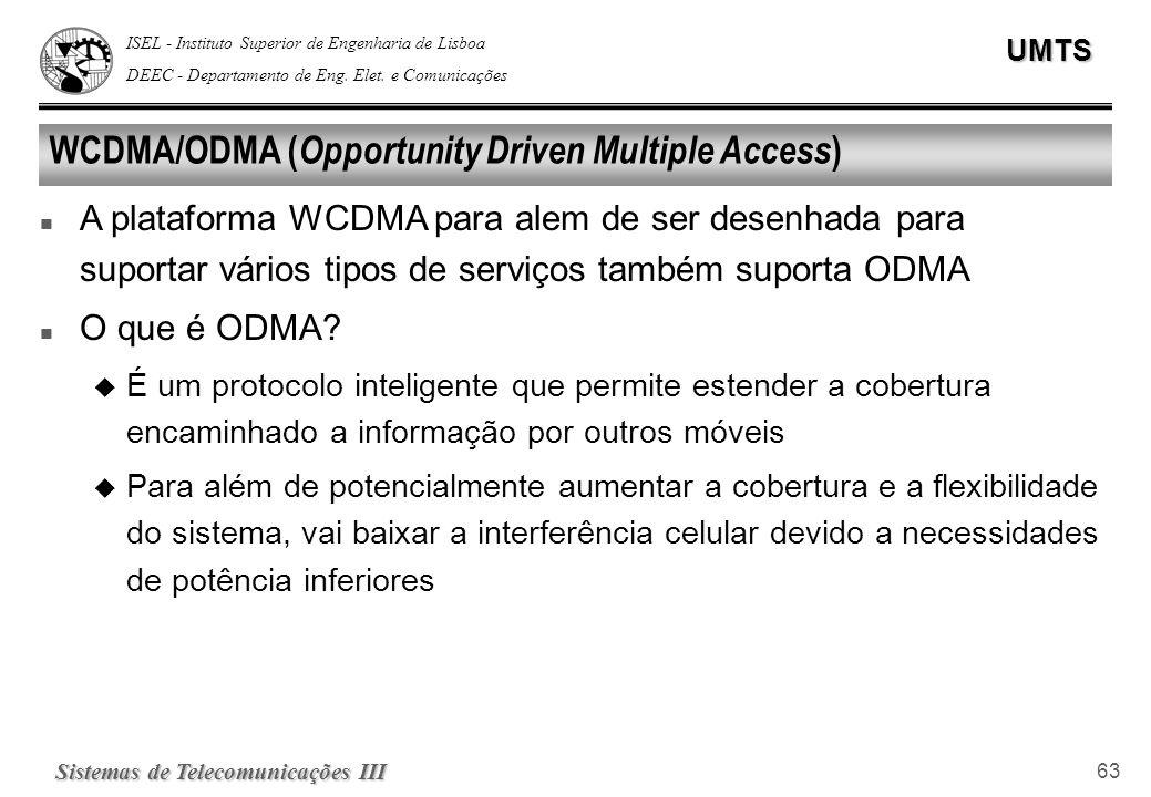 ISEL - Instituto Superior de Engenharia de Lisboa DEEC - Departamento de Eng. Elet. e ComunicaçõesUMTS Sistemas de Telecomunicações III 63 WCDMA/ODMA