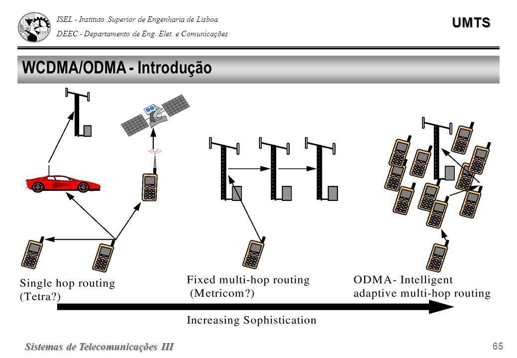 ISEL - Instituto Superior de Engenharia de Lisboa DEEC - Departamento de Eng. Elet. e ComunicaçõesUMTS Sistemas de Telecomunicações III 65 WCDMA/ODMA