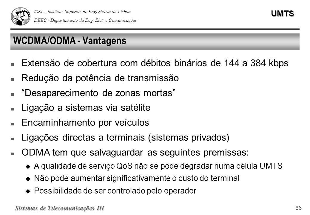 ISEL - Instituto Superior de Engenharia de Lisboa DEEC - Departamento de Eng. Elet. e ComunicaçõesUMTS Sistemas de Telecomunicações III 66 WCDMA/ODMA