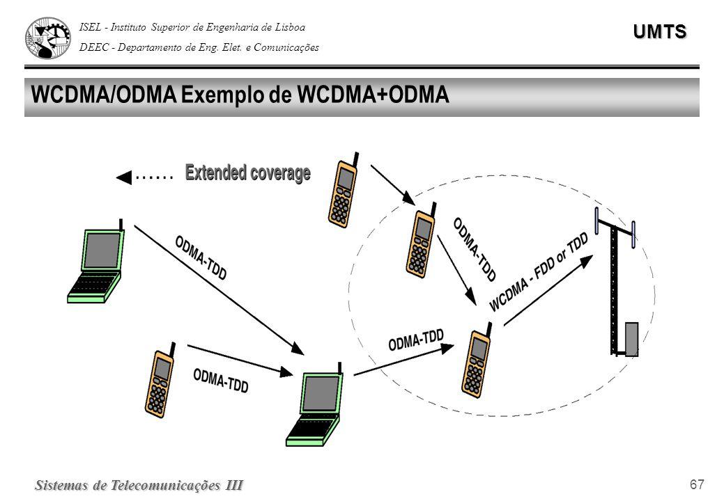 ISEL - Instituto Superior de Engenharia de Lisboa DEEC - Departamento de Eng. Elet. e ComunicaçõesUMTS Sistemas de Telecomunicações III 67 WCDMA/ODMA