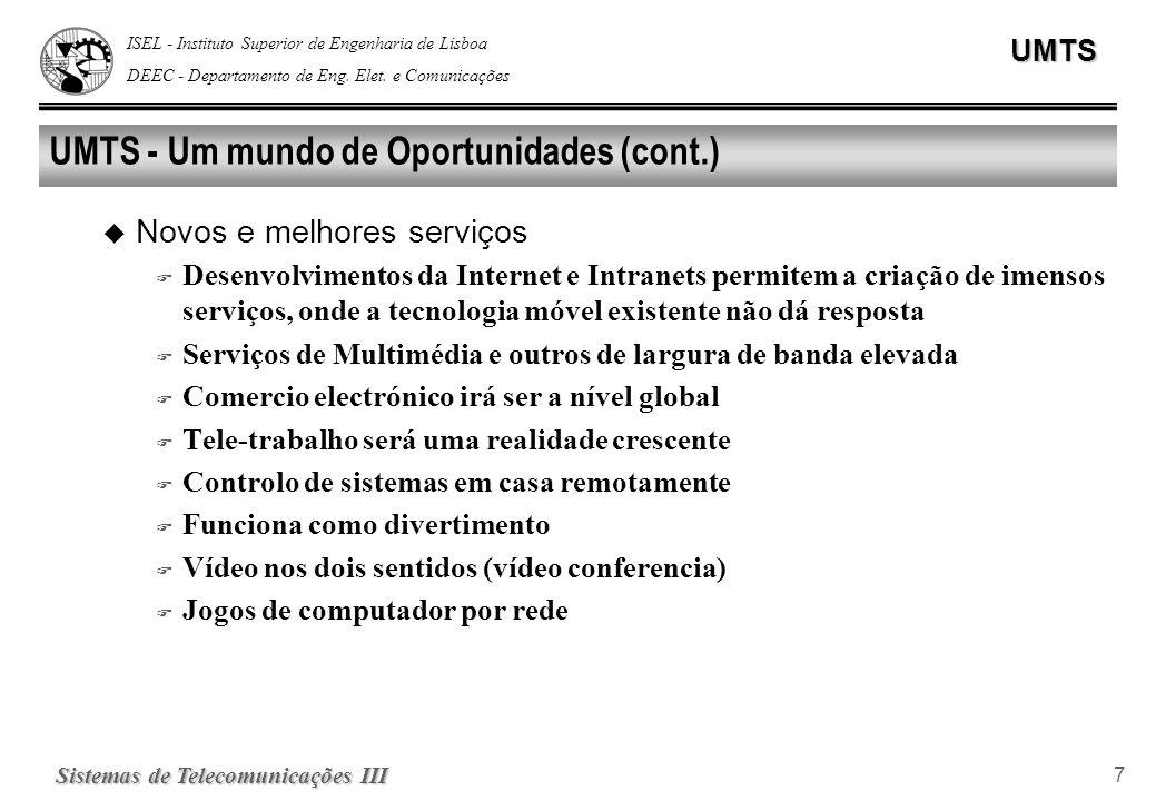 ISEL - Instituto Superior de Engenharia de Lisboa DEEC - Departamento de Eng. Elet. e ComunicaçõesUMTS Sistemas de Telecomunicações III 7 UMTS - Um mu