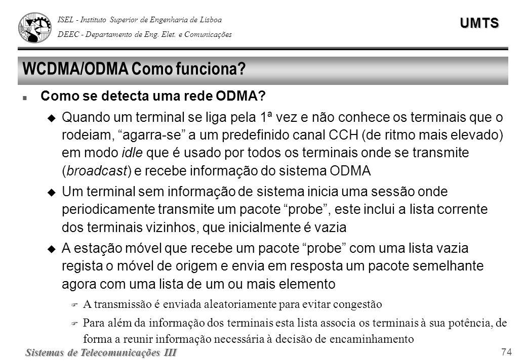 ISEL - Instituto Superior de Engenharia de Lisboa DEEC - Departamento de Eng. Elet. e ComunicaçõesUMTS Sistemas de Telecomunicações III 74 WCDMA/ODMA
