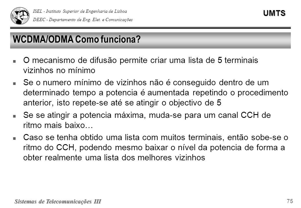 ISEL - Instituto Superior de Engenharia de Lisboa DEEC - Departamento de Eng. Elet. e ComunicaçõesUMTS Sistemas de Telecomunicações III 75 WCDMA/ODMA