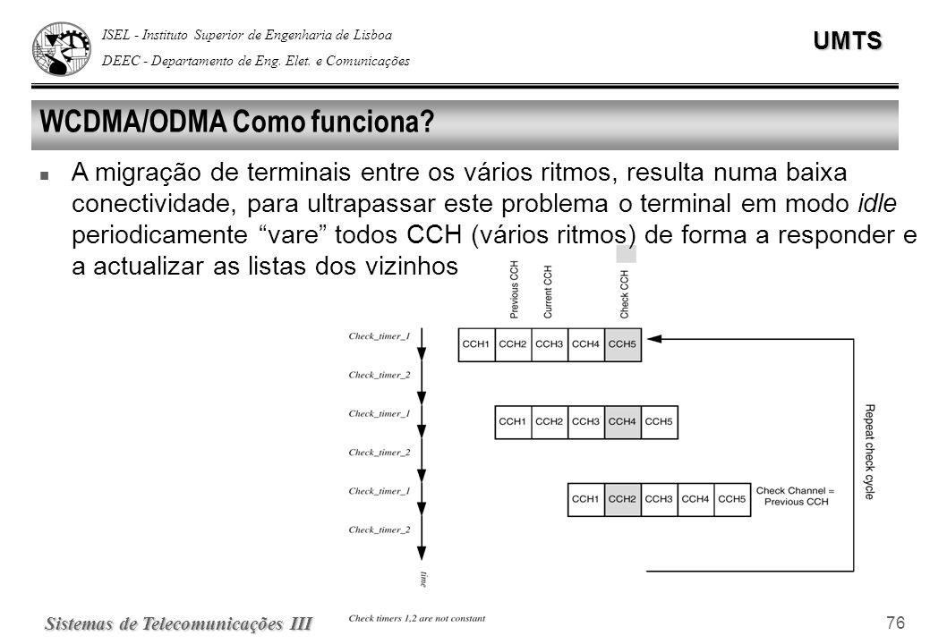 ISEL - Instituto Superior de Engenharia de Lisboa DEEC - Departamento de Eng. Elet. e ComunicaçõesUMTS Sistemas de Telecomunicações III 76 WCDMA/ODMA