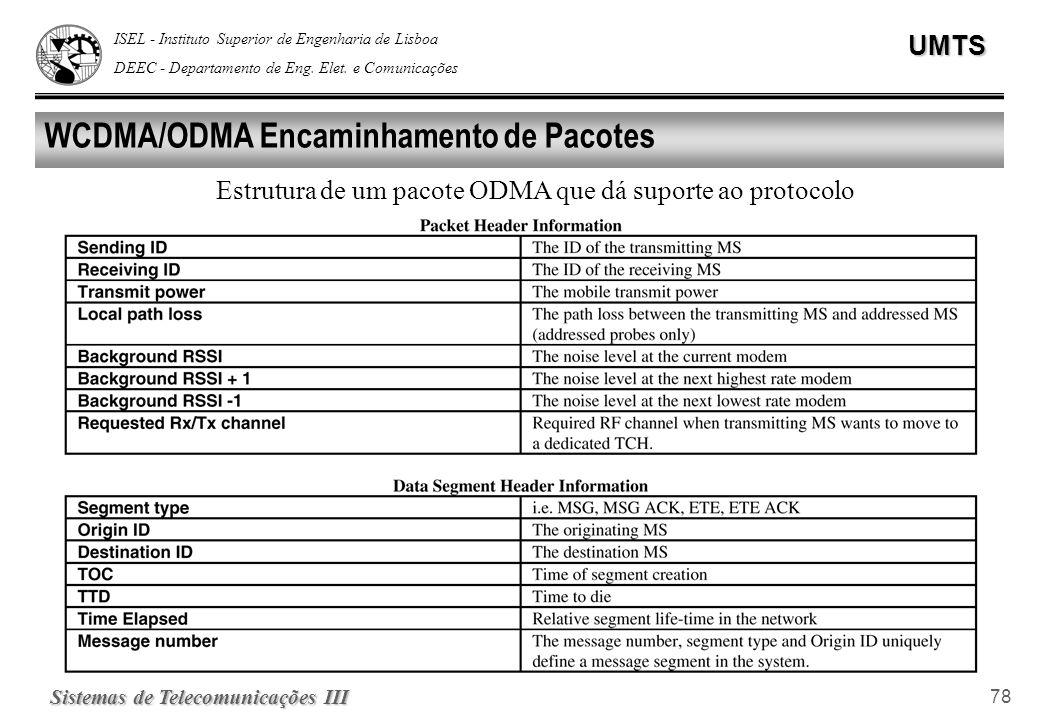 ISEL - Instituto Superior de Engenharia de Lisboa DEEC - Departamento de Eng. Elet. e ComunicaçõesUMTS Sistemas de Telecomunicações III 78 WCDMA/ODMA